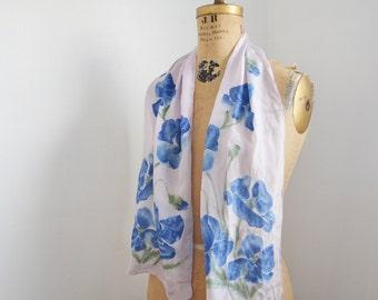 Vintage Vera Neumann Silk Scarf , Floral Neck Scarf blue poppies