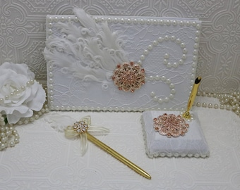 wedding guest book, Rose Gold  Guest Book, White Feather and Brooch Guest Book set, Guest Sign in Book