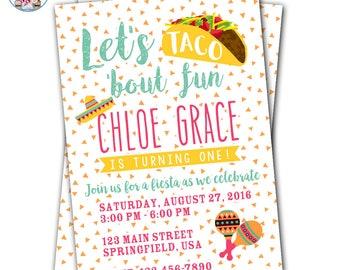 Fiesta Birthday Invitation, Taco Party Invitation, Let's Taco 'Bout Fun, Fiesta Party