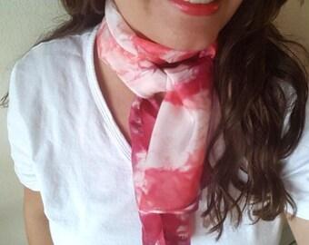 Coral Rose and Black Tie-Dye Silk Scarf