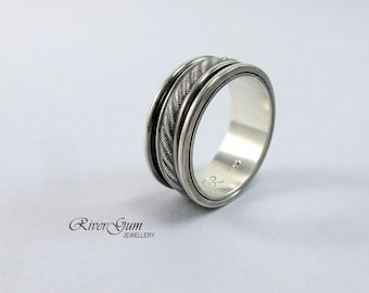 Mens Spinner Ring, Unisex Spinner Ring, Sterling Silver, Wide Ring Band, Patterned Ring, Wedding Band, Commitment Ring, RiverGum Jewellery