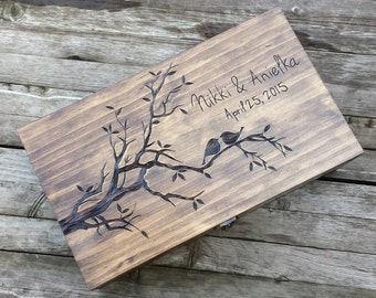 Rustic Wedding wine box, Love birds, Custom Double Wine Box, First Fight Box, Card box, Memory Box, anniversary gift, wedding gift