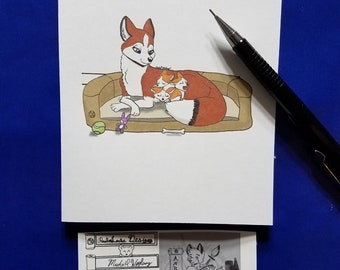 Mothers Day Fox Handmade Prints Blank Inside Cards Set of 4
