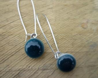 Steel Blue Grey Fused Glass Sterling Silver Danglies Earrings