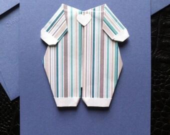 Card origami baby birth