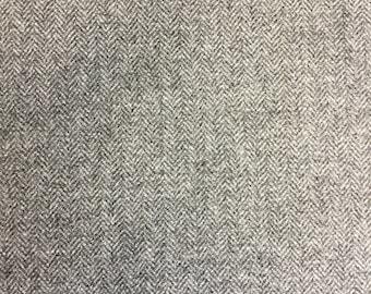 100% wool grey herringbone fabric by the metre