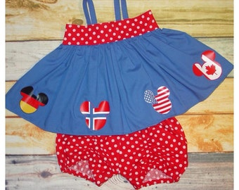Epcot World Showcase Inspired tunic top and shorts with Mickey Head Flags