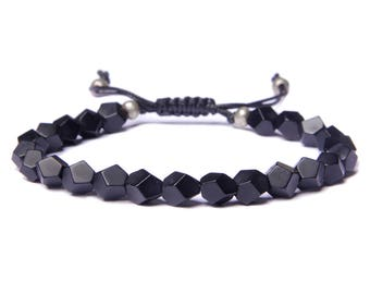 Black Onyx Men's Bracelet - Black beaded bracelet for Men - Men's Jewelry - Matte black onyx faux leather adjustable bracelet for Men