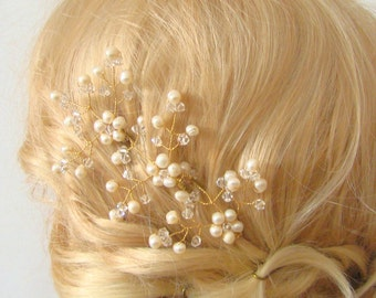 Leaf Hair Pin, Freshwater Pearl Hair Pin, Pearl Hair Piece, Bridal Hair Pin, Wedding Hair Pin Set of 3, Gold Hair Pin, Hair Accessories Zara