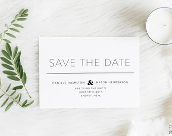 Save the Date | Printed Save the Date | Black and White | Wedding | Invitation | Modern | Formal | Save the Dates | Kraft| Brown | Camille