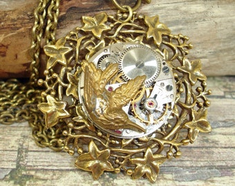 Steampunk Watch Movement Necklace-Brass Hummingbird Necklace-Woodland Upcycled Necklace-Nature Necklace For Her-OOAK!