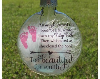 Miscarriage gift - Miscarriage keepsake - Too Beautiful for earth - Mom of an angel - Infant loss - Pregnancy loss - Mommy of an angel