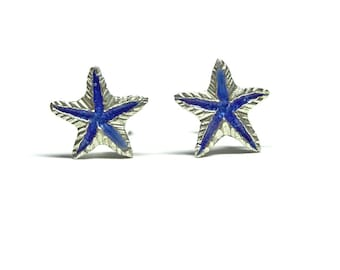 Blue Starfish Silver Stud Earrings - Little Studs - Handmade in Greece