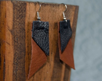 Burnt Sienna and Black Leather Angular Earrings