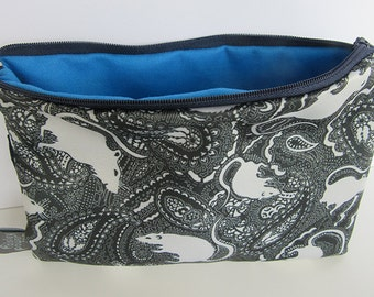Zipper Pouch, zip bag, cosmetic bag, hand made pouch, gadget case, pouch, travel bag, unique gift, accessory bag, paisley rat pattern
