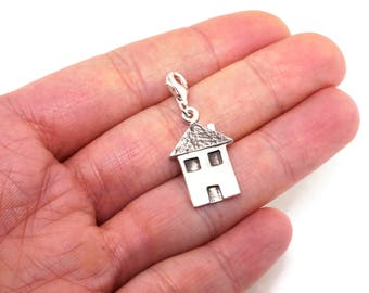 Sterling Silver Tiny House Charms - Charms for Bracelet Femme or for Couples Bracelet - Long Distance Gift for Her - Lucky Charm