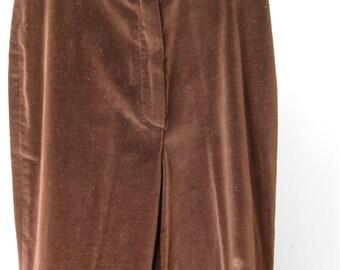 """Velvet Pants / Vtg 70s / Long Slim Brown Velvet Pants /  """"MJ Concepts""""  / 33"""" inseam"""