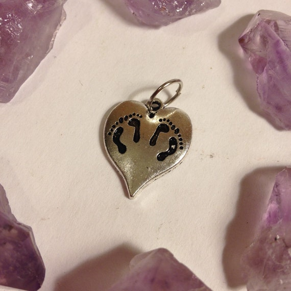 Twin miscarriage memories footprints on heart charm pendant twin miscarriage memories footprints on heart charm pendant necklace babyloss stillbirth twins multiple losses mother grief from brigidsgrove on aloadofball Choice Image