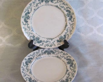 Antique Clarens English Ironstone Green Transferware, Teal Green Transferware Plates, English Ironstone Plates, 7 in.