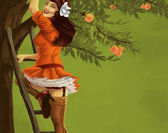 Georgia Peach Orchard Pinup Girl (Art Prints available in multiple sizes)
