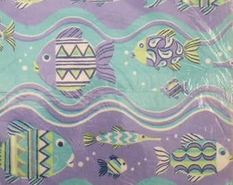 Purple Turquoise Swimming Fish Wrapping Paper