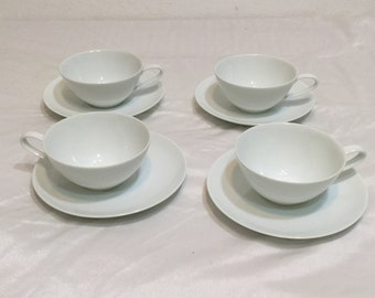 Noritake SAVOY all White  4 Sets of Cup and Saucers Vintage 60'S