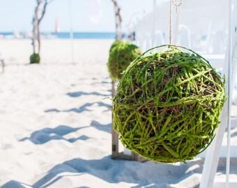 "Apple Green Moss & Twig Decorative Hanging Ball 12"""