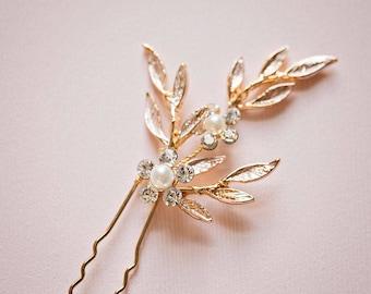 Bridal hair pin, Leaf hair pins, Gold hair pins, Rose gold hair pins, Gold bridal headpiece, Bridesmaid hair pins