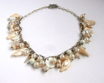 White Bead Necklace - Assemblage Necklace - Repurposed Necklace