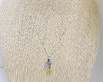 Glass Leaf charm necklace