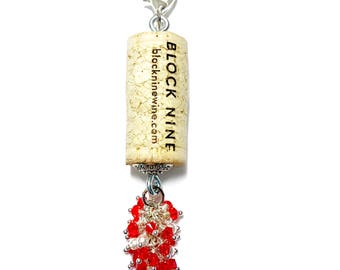 Santa's Sangria color-burst cork floating keychain with Swarovski crystals
