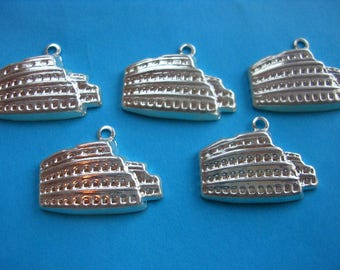 LOT 5 METALS CHARMS Silver: Acropolis 20 mm