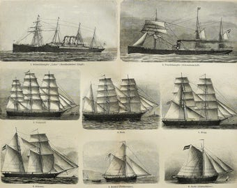 1900 Antique print of SAILING SHIPS, different types. Sailships. Sailing. Navigation. Sailboats. 118 years old engraving.