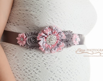 Maternity Sash, Pregnancy Belts, It's a girl, Pregnancy Sash, Maternity Belt, Pregnancy Sash, Wedding, Pink and Gray chevron, gender reveal