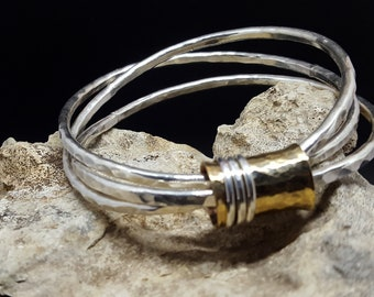 Interlinked Hammered Heavy Sterling Silver Bangle