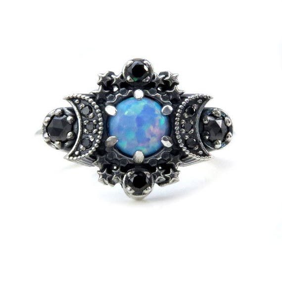 Cosmos Moon Ring - Lab Blue Grey Opal with Black Diamonds