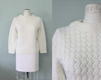 Factory Girl sweater | vintage 1960s white sweater top | 60s mod deadstock sweater