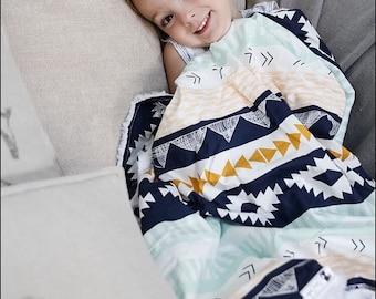 Baby Blanket Aztec. Gender Neutral Baby Blanket. Tribal Baby Blanket. Faux Fur Baby. Baby Shower Gift. BizyBelle