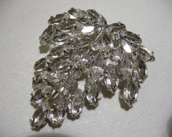 Vintage CARL ART Sterling Silver and Crystal Leaf Brooch