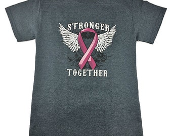 Stronger Together Pink Ribbon T Shirt Graphic Tee