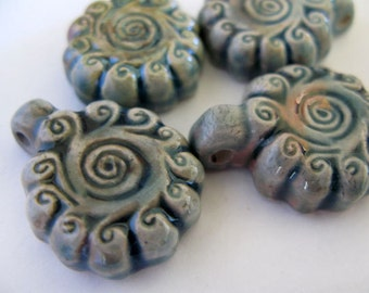 4 Raku Swirly Flower Pendants - beads - RAK176
