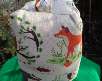 Hand made woodland animals print fabric Door Stop. stag, owl, badger, hedgehog, fox