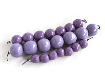 Lavender and purple handmade African beads, ultraviolet clay beads, Handmade Ceramic Beads,  beads, Artisan Beads, 21 beads,  handmade