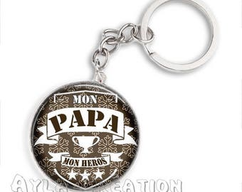 Cabochons glass 25mm #PA_CP03 dad keychain