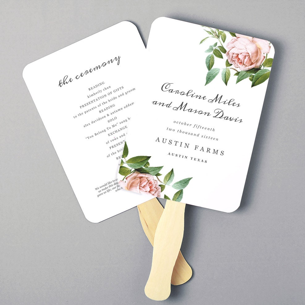 wedding program fans printable fan program fan program template wedding fan 30759