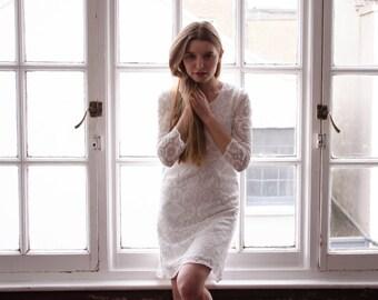 Little White Lace Dress 'Lizzie', cotton lace wedding dress, short wedding dress, white lace dress, casual wedding dress civil wedding dress