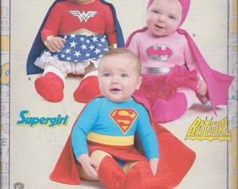Simplicity 8193 Baby's Wonder Woman Batgirl Supergirl Costume size XXS-L UNCUT Sewing Pattern