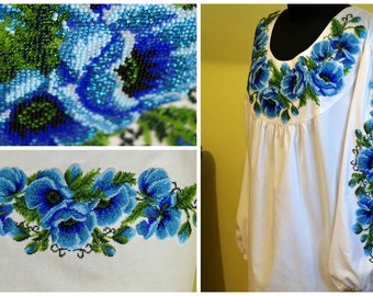 Beads embroidery, ukrainian embroidery, modern embroidery, handmade blouse, women blouse, beads, ukrainian blouse, beaded blouse, beadwork