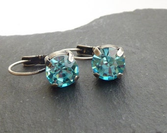 Aqua Crystal Leverback Earrings made with Preciosa Crystals Choose Your Finish Gold/Silver/Antique Silver/Antique Brass