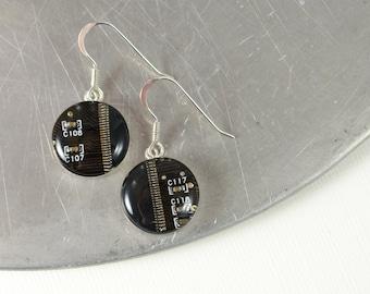 Circuit Board Earrings, Dark Brown Sterling Silver Jewelry, Brown Dangle Earrings, Silver Earrings, Computer Engineer, Wearable Technology